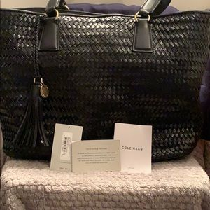Cole Haan woven leather tote